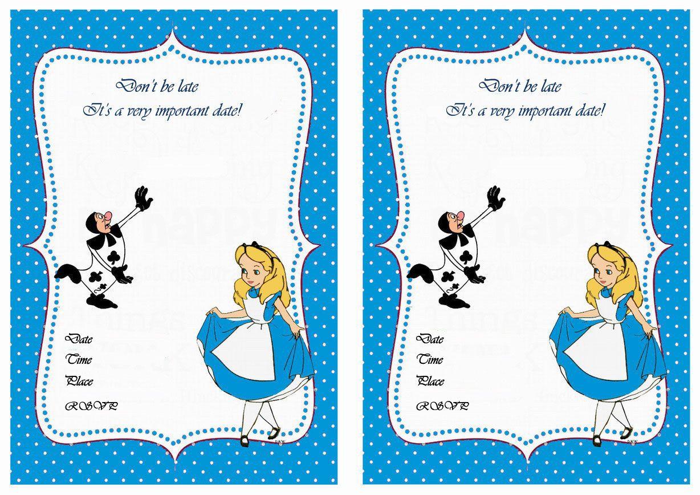 Alice In Wonderland Printable Birthday Invitations Click