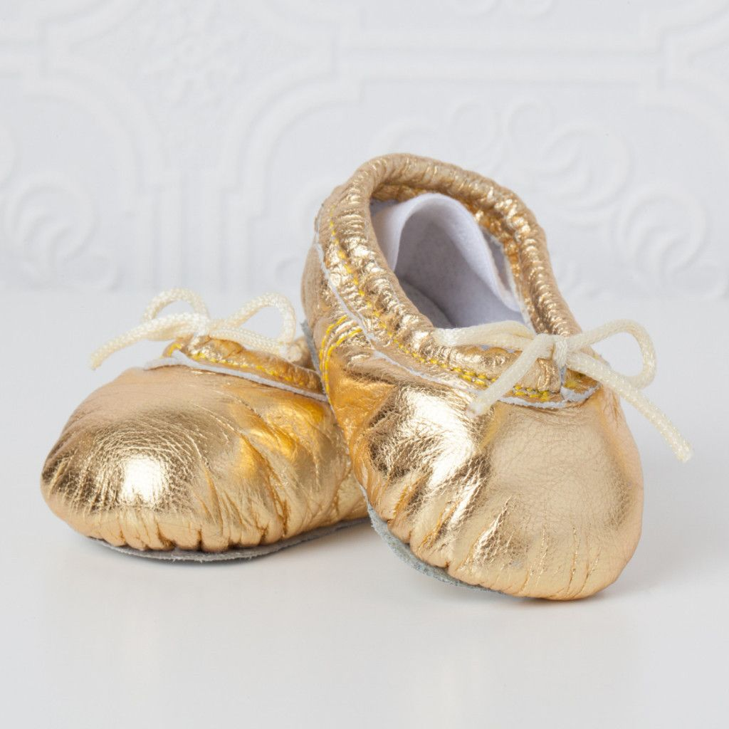 55be9faa7 Newborn Baby Ballet Slippers - Metallic Gold leather shoes