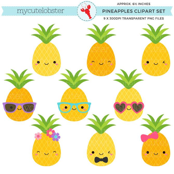 Cute Pineapples Clipart Set Pineapple Clip Art Fun Pineapples Tropical Summer Personal Use Small Commercial Use Instant Download Pineapple Clipart Cute Pineapple Clip Art