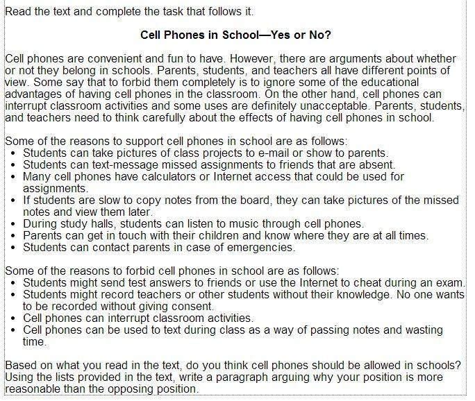 Should cellphones be allowed in school persuasive essay