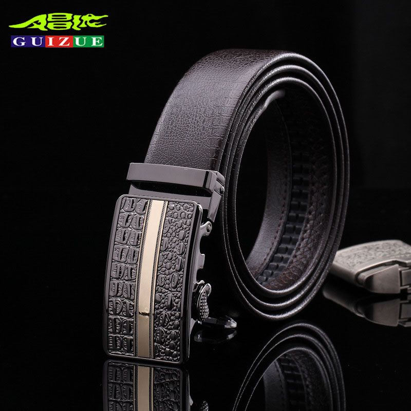 GUIZUE Brand Mens Belts Genuine Leather Famous Designer Luxury High Quality  Cowhide Men Belt Automatic Buckle 535624130c9