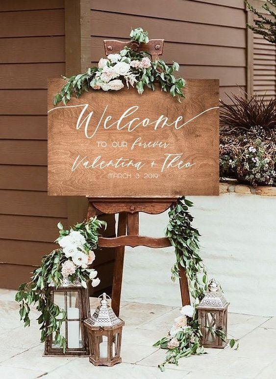 cartel de madera bienvenida boda