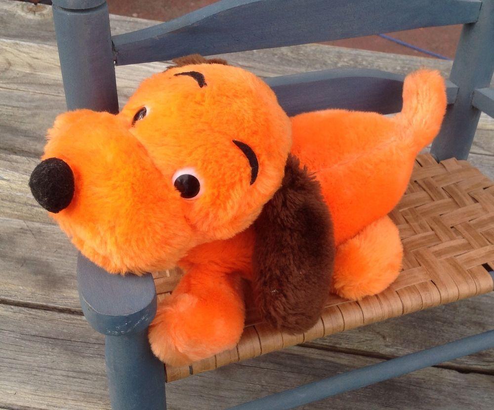 Big 13 Vintage 70 S Dakin Drooper Orange Puppy Dog Plush Stuffed