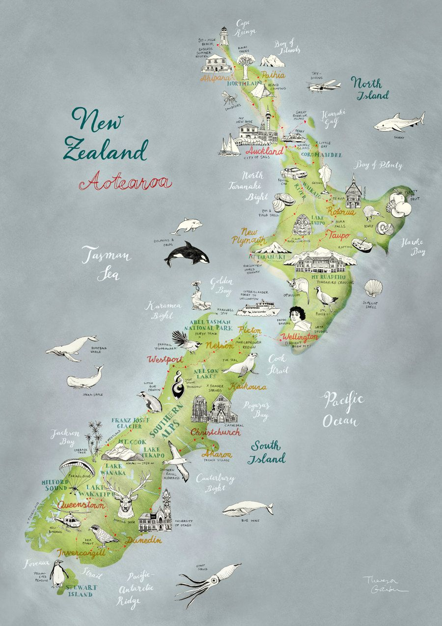 Neuseeland Illustrierte Landkarte Aotearoa Kunstdruck Grossformat Plakat Schone Reise Illustration In Grun Blau Rot Naturweiss Neu Map Of New Zealand Illustrated Map Travel Illustration