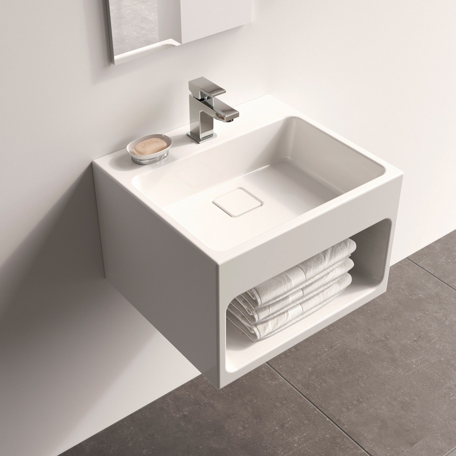 Fusion Gloss White 450 Wall Hung Vanity Unit Wall Hung Vanity Washbasin Design Vanity Units