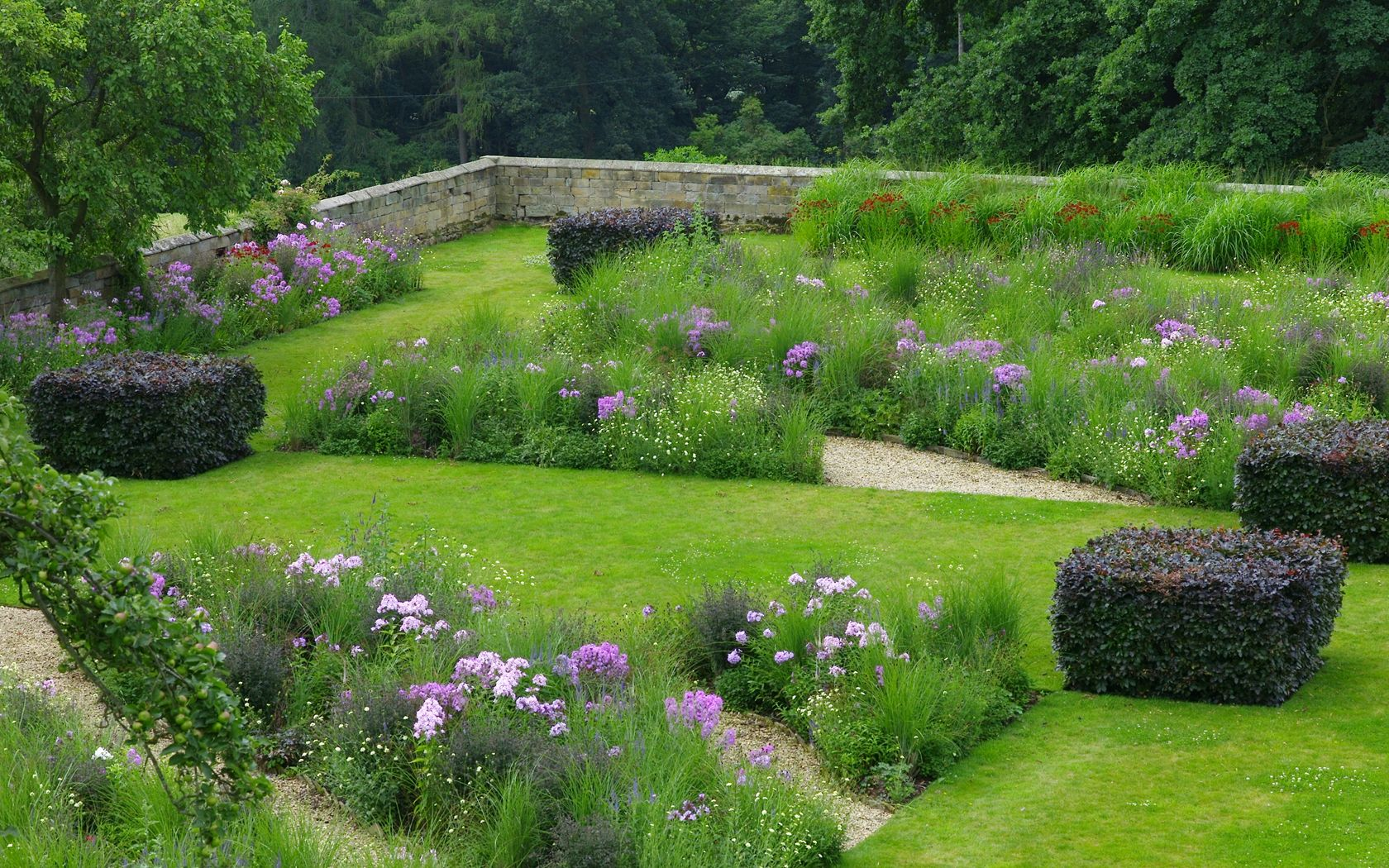 meadow design with lawn in between ~ add beach garden ,namaqualand garden,clivia garden and fern garden ~ within a hedge boundary ~ Gallery - Arne Maynard Garden Design