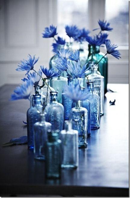 blue...gorgeous center pieces!