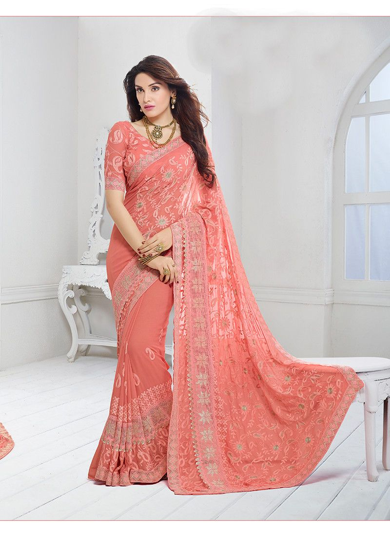 99084aaff0 Buy Chiffon Saree By Craftsvilla (peach) online. ✯ 100% authentic products,