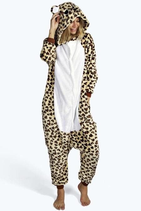 93f1af51fc Leopard Hooded Animal  Onesie