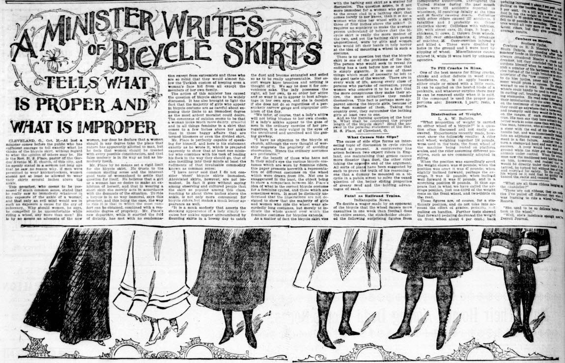 A Minister writes of Bicycle Skirts. From the October 17, 1897 Seattle Post Intelligencer