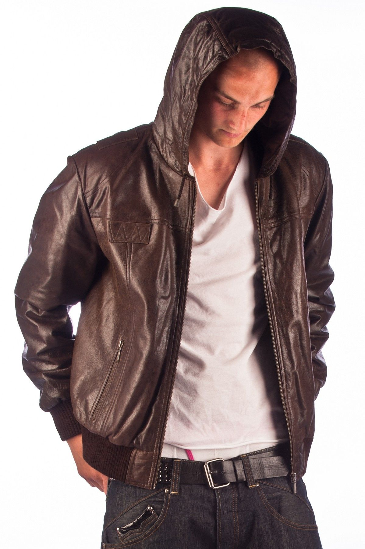Dino' Mens Brown Leather Hooded Jacket Leather jacket