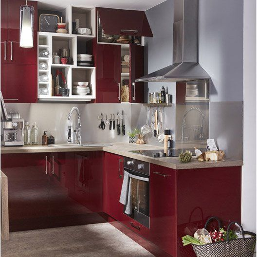 Meuble de cuisine rouge DELINIA Griotte Rouge, Future house and Mixers - Photo Cuisine Rouge Et Grise