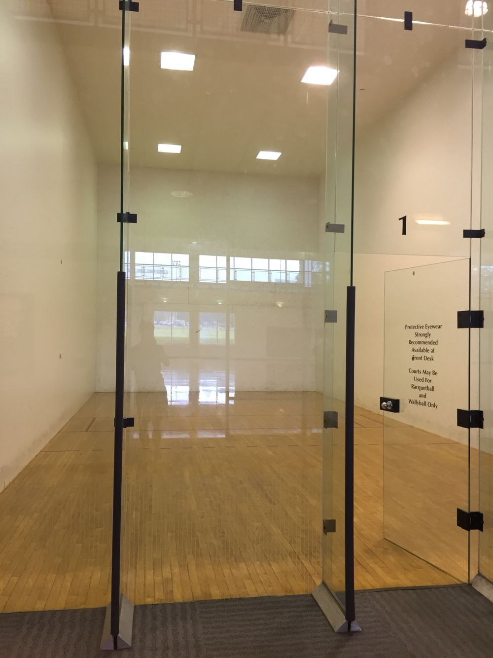 Here is a racquetball court at the jc people can also
