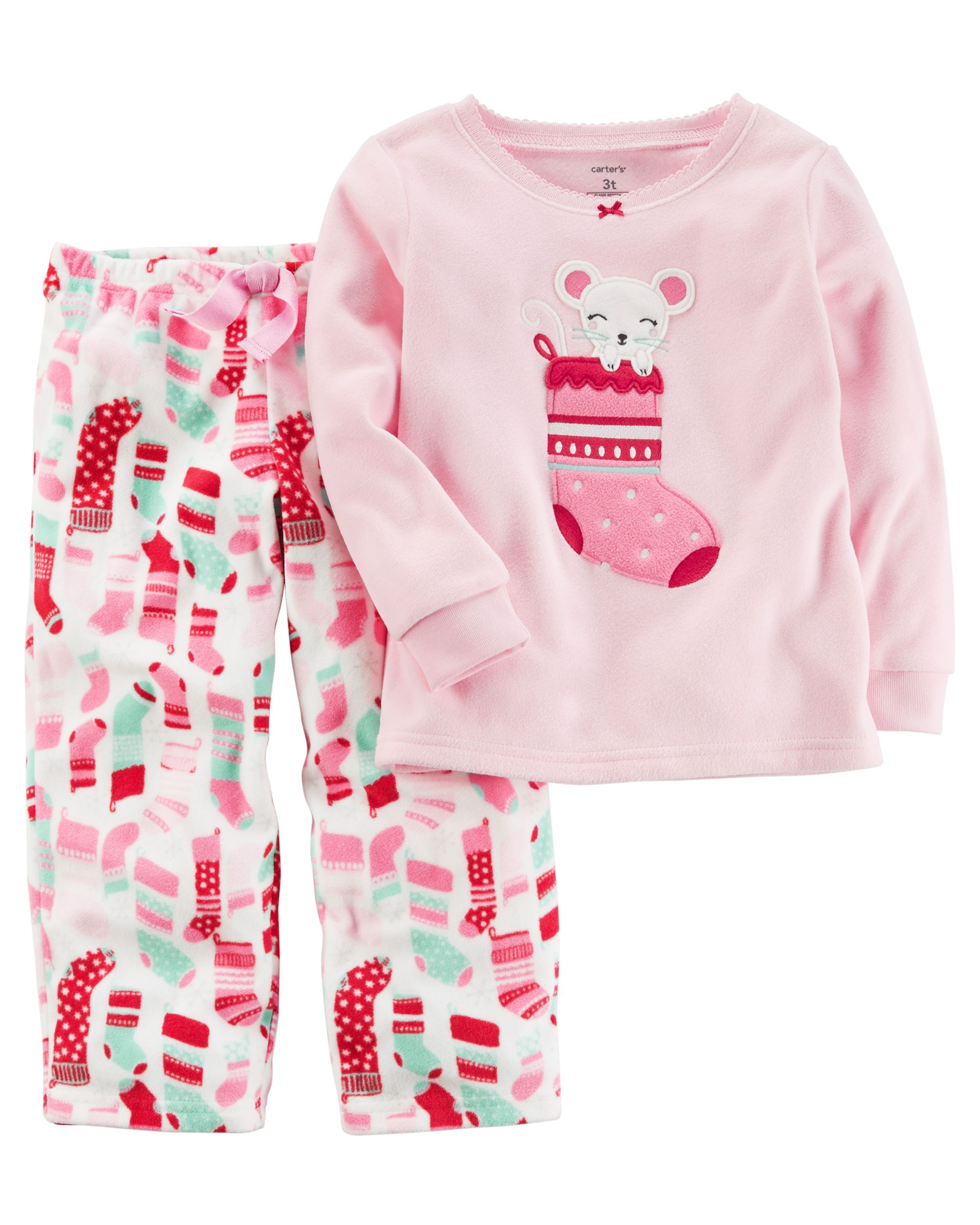 cf02a17d3 Baby Girl 2-Piece Christmas Fleece PJs
