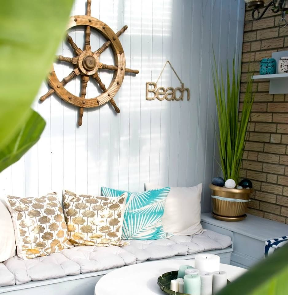 Charming patio with nautical and beach wall decor: http://www ...