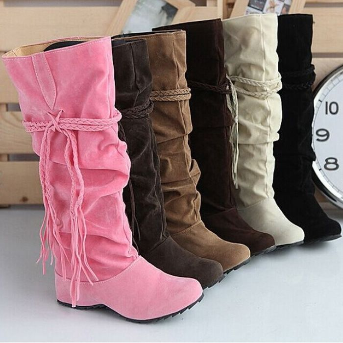 Women Autumn Winter Warm Knee Boots Wool Knitting Snow Boots Flat Mid-calf Boots