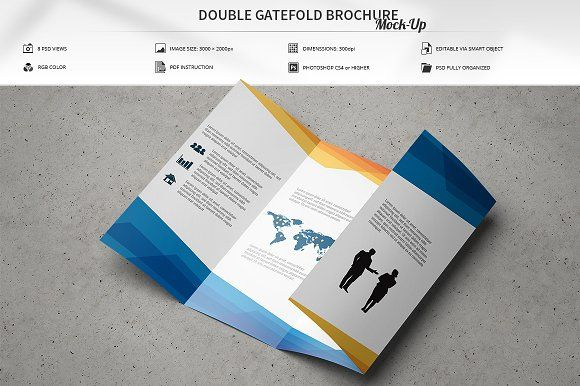Double Gatefold Brochure MockUp By Massdream On Creativemarket