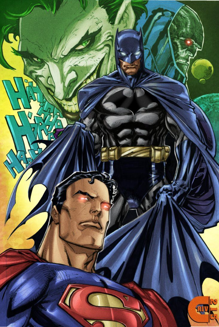 Superman Batman Joker Darkseid Color By Criv215 Batman And Superman Dc Trinity Dc Superheroes