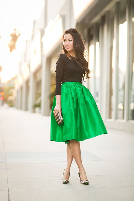 e07305fd01c Spring Garden    Emerald full skirt   Floral pumps