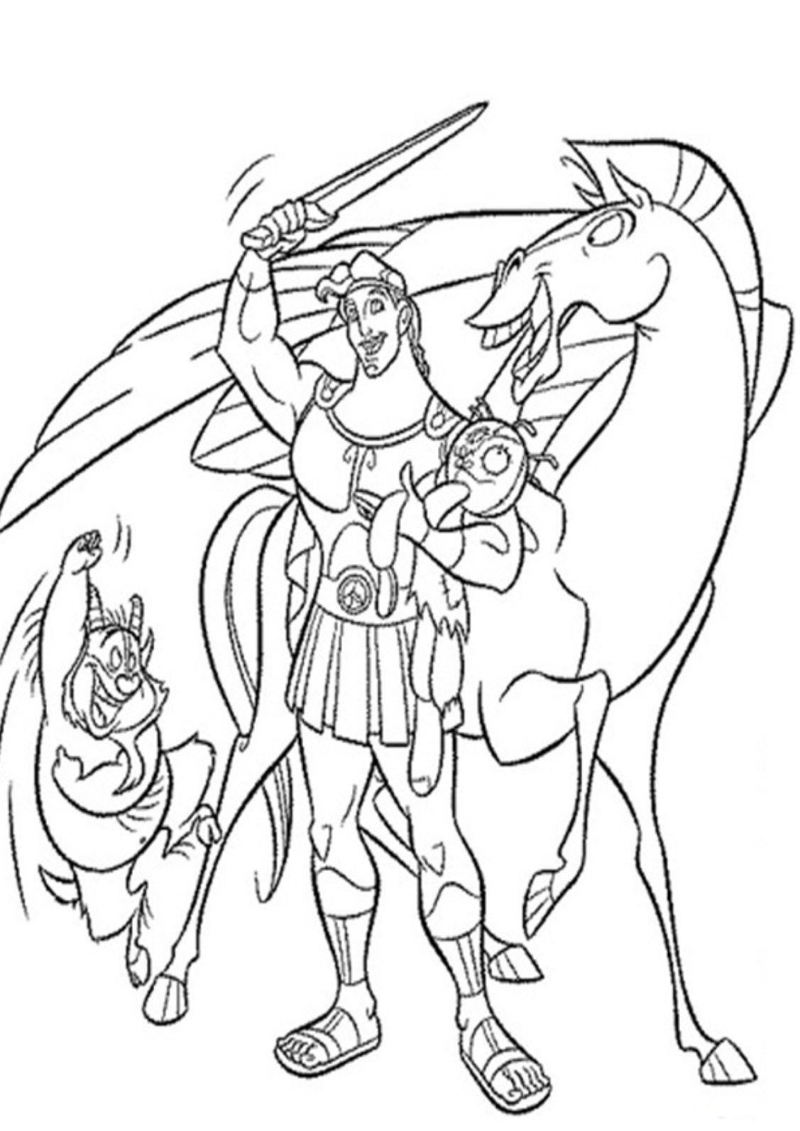 Hercules Win Coloring Pages For Kids #d22i : Printable Hercules