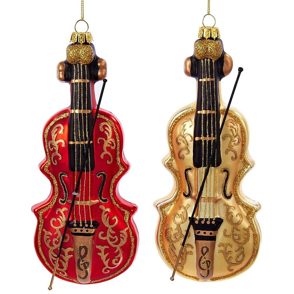 Violin christmas ornaments - Kurt S Adler Violin Glass Ornament 2 Assorted