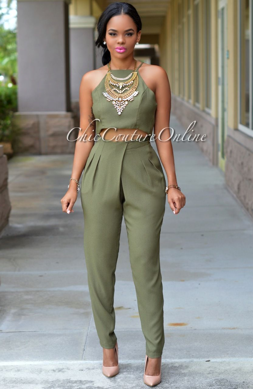 d1ba918c5790 Chic Couture Online - Zara Olive Green Two Piece Pleated Pants Set, (http: