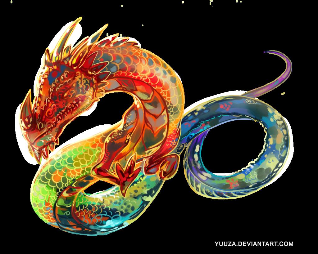Rainbow Dragon Tattoo Art By Yuuza Deviantart Com On Deviantart Dragones Arte Monstruos