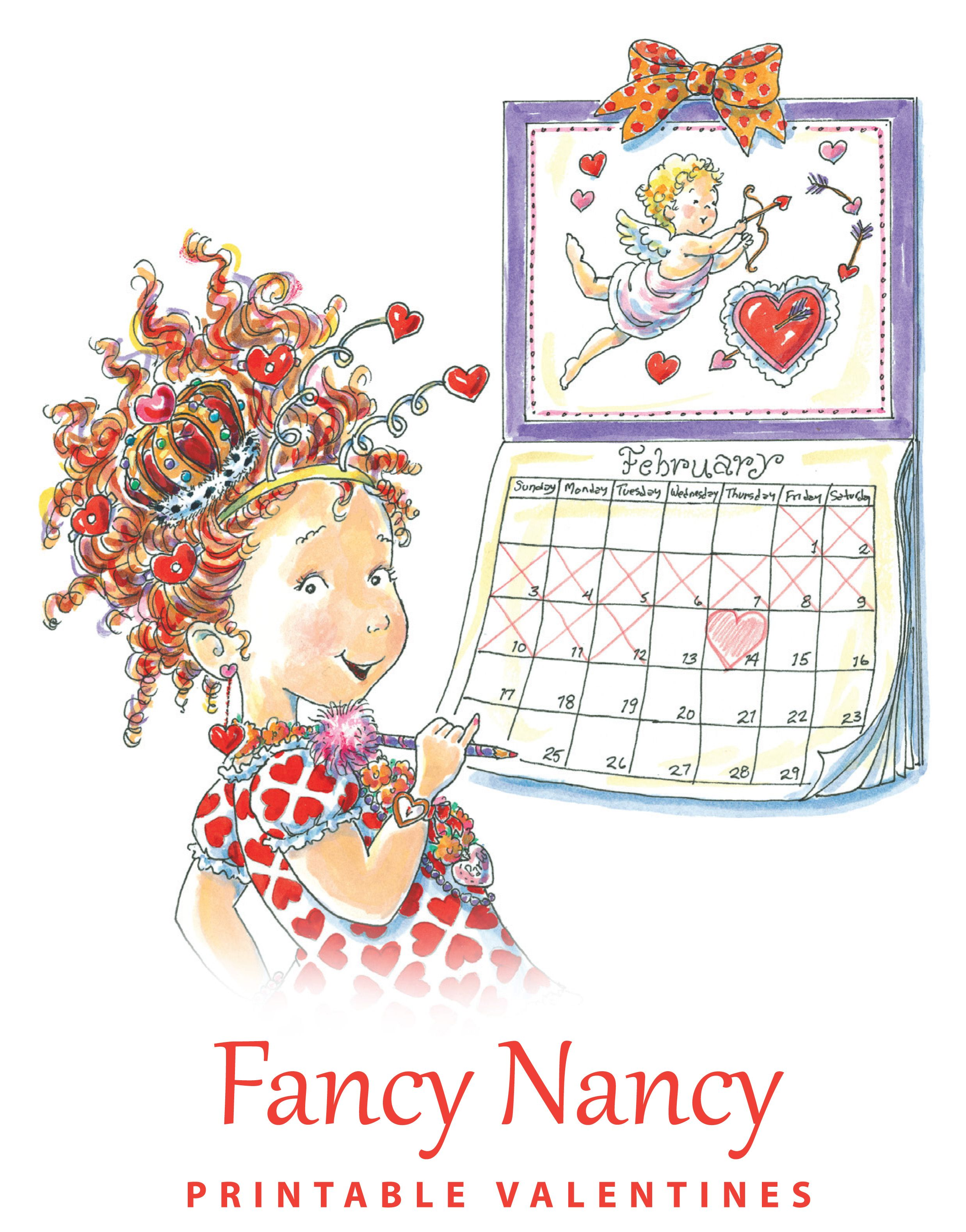 printable valentine s day cards featuring fancy nancy click the pin to download the free cards  [ 2475 x 3157 Pixel ]