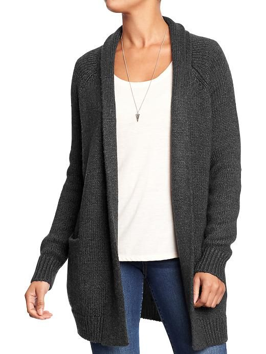 Dark charcoal gray open front shawl collar cardigan sweater | dark ...