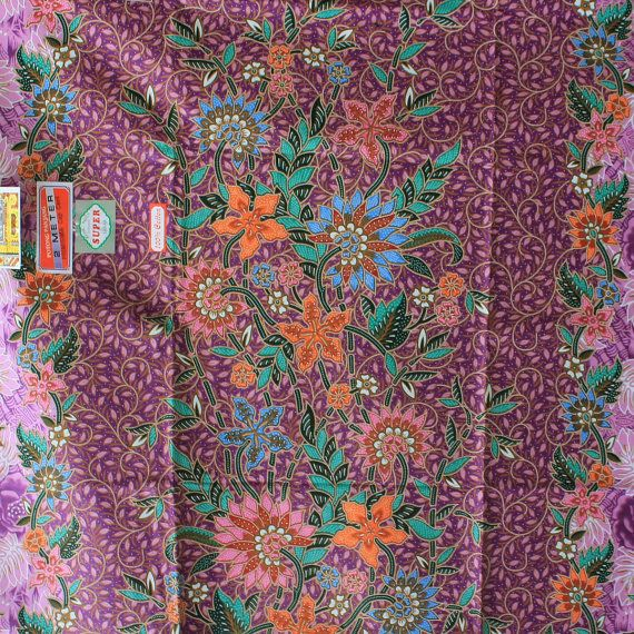 purple flowers cotton traditional Indonesian Batik by ...