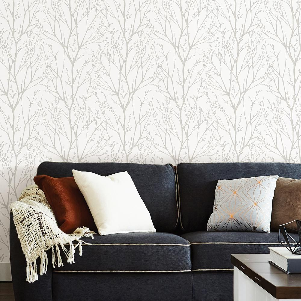 Nuwallpaper Treetops Peel Stick Paper Strippable Roll Covers 30 75 Sq Ft Nu2394 The Home Depot Peel And Stick Wallpaper Nuwallpaper Home Decor
