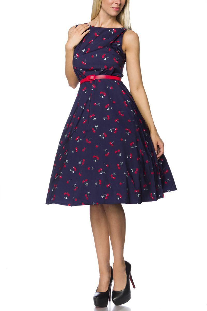 Vintage-Kleid mit Guertel blau-gemustert 1-14735-214
