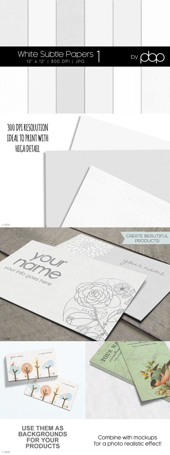 White Subtle Papers 1. Textures. $12.00