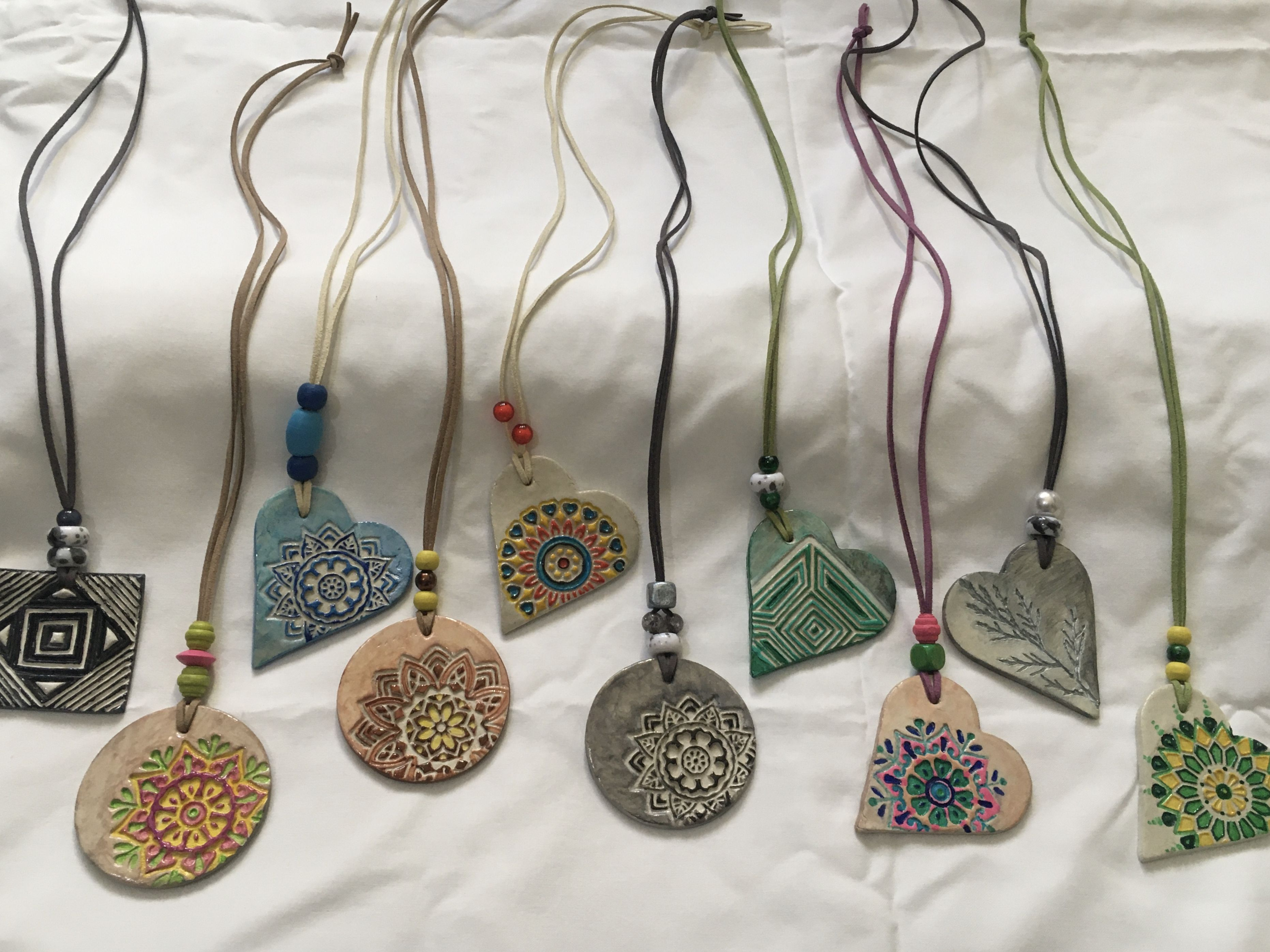 Handmade Hand Painted Pendants Air Dry Clay Projects Clay Jewelry Diy Diy Air Dry Clay