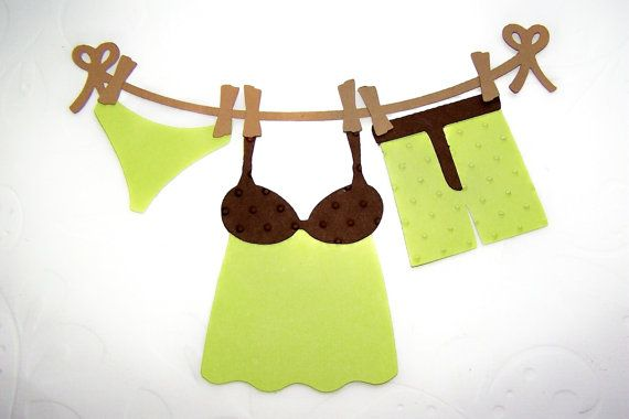 Die Cut Boxer Briefs Ladies Nightie with Panties Laundry Tag Card Toppers 10 pcs. $2.00, via Etsy.
