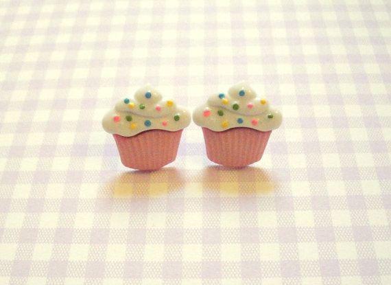 Cupcake Stud Earrings by RingsOfSaturn on Etsy, $6.00