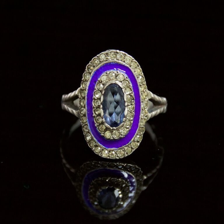 Antique blue topaz blue enamel silver ring
