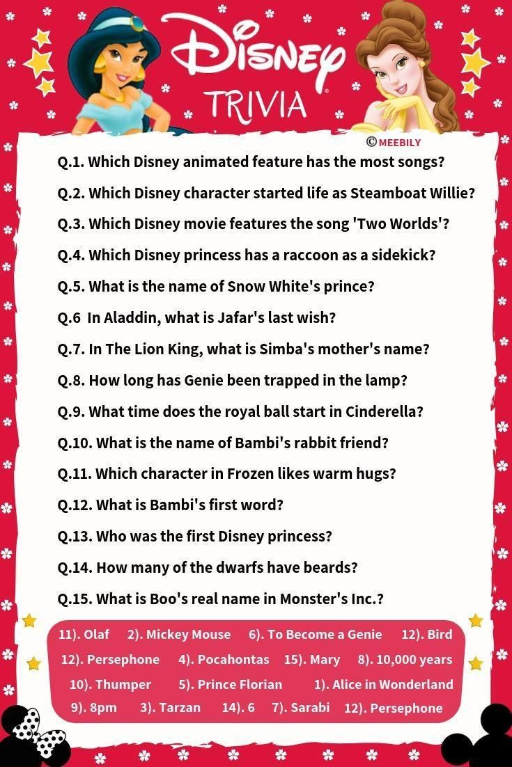 100+ Disney Movies Trivia Question & Answers Meebily in