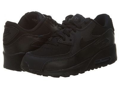 0db1524b78d1 Nike Air Max 90 Ps Little Kids 307794-091 Black Running Shoes Youth Size 3