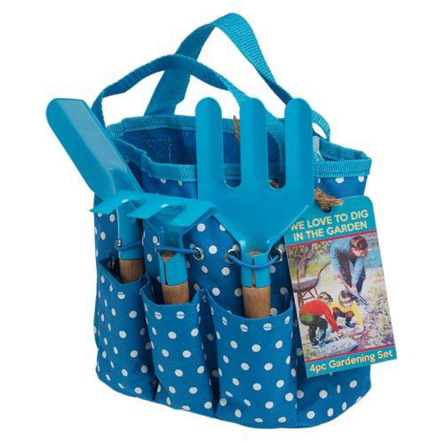 Set jardinage enfant sac et 3 outils en métal et bois bleu Rex