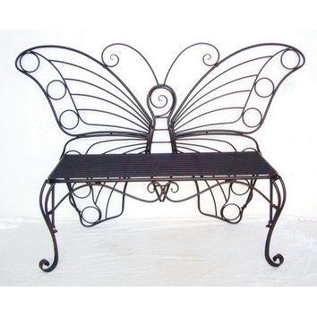 Butterfly Metal Garden Bench | Bancos