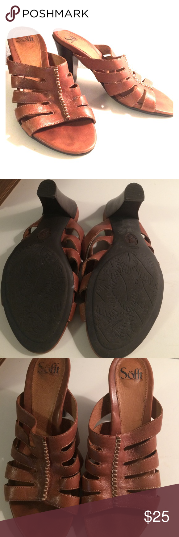 leather Sofft sandal heels 👠! ✨ Great condition. Soles look they they weren't even worn. Leather is a little worn but that simply gives it a chic look! Would look great paired with about anything. Heel height is 4 inches from back of shoe to bottom of the heel. Comes from smoke free home. Thanks! Sofft Shoes Heels