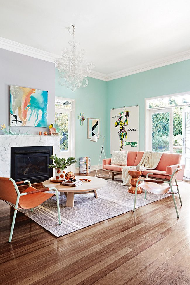 Scheme 1 Aqua Walls With Dusty Mauve Feature Wall Photo Armelle Habib Styling Julia Green Get This Look Sky Ming Dynasty White