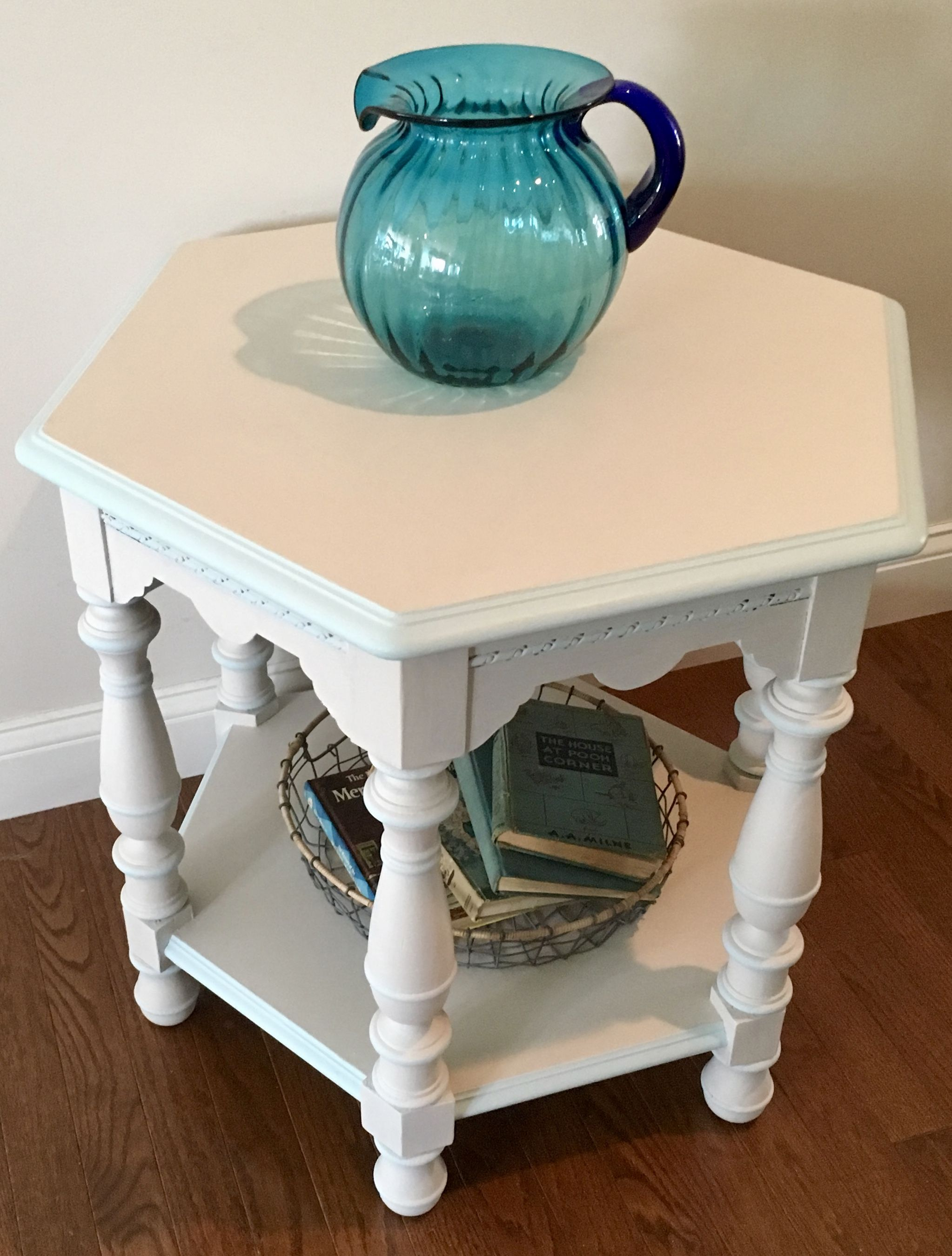 coastal style furniture. Light Gray Painted Hexagon Side Table With Turquoise Trim. Cottage Style, Seaside, Beach Coastal Style Furniture