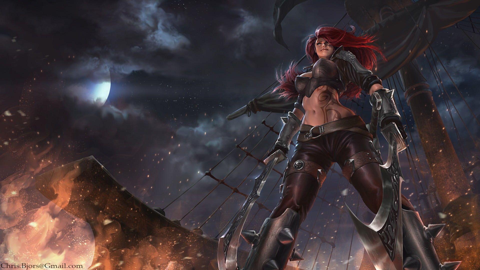Katarina Wallpaper League Of Legends Video Games Redhead Women