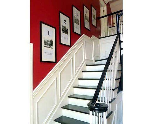 Cage descalier blanc style contemporain avec une peinture rouge vif sur les murs