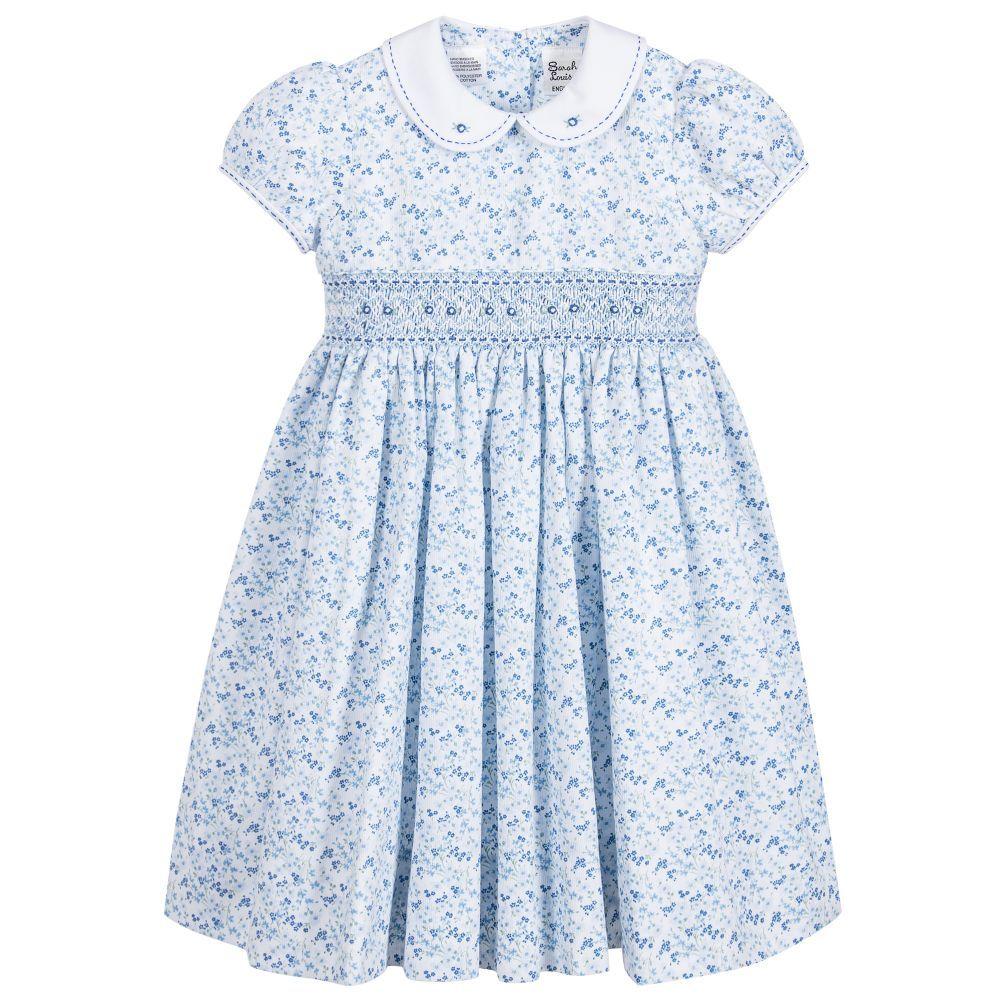eaaf5936eebd0 Sarah Louise Girls Blue Floral Hand Smocked Dress at Childrensalon.com