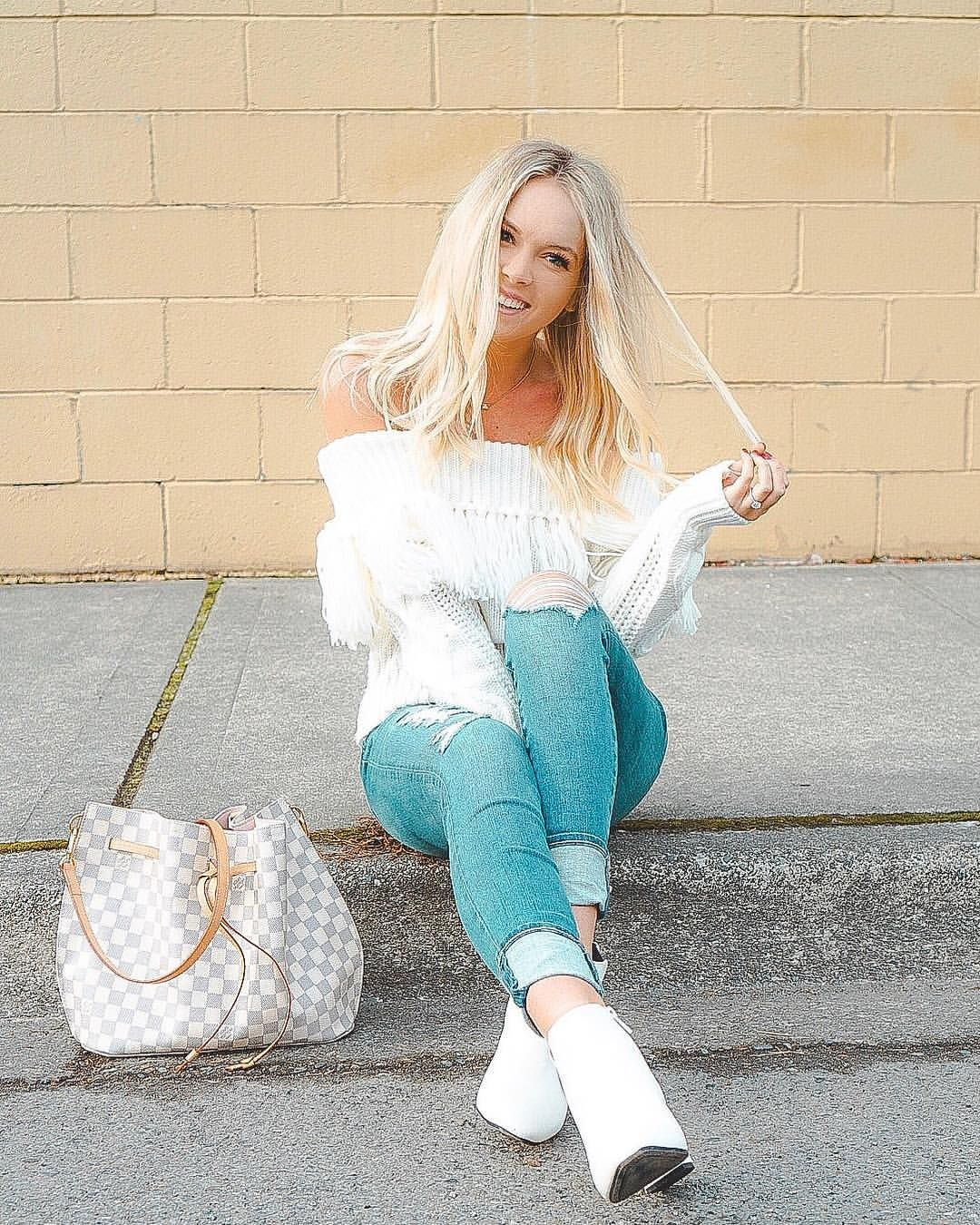 Fall Style Winter Outfits Spring Fashion Chicwish Sweater Topshop Denim Louis Vuitton Girolata Karlierae