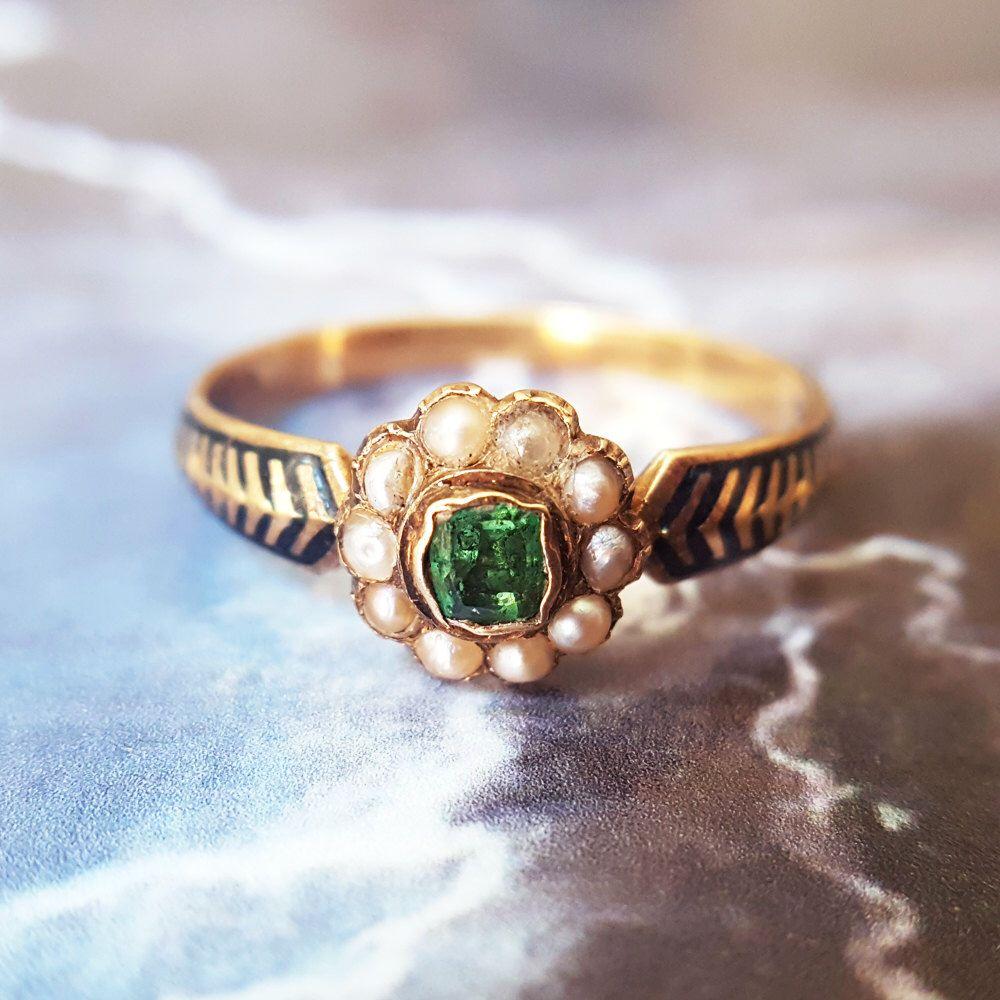 Antique Engagement Ring | Vintage Engagement Ring | Victorian Engagement Ring | Vintage Emerald Ring | Emerald Engagement Ring Antique Ring by TheIdolsEye on Etsy https://www.etsy.com/listing/496003607/antique-engagement-ring-vintage