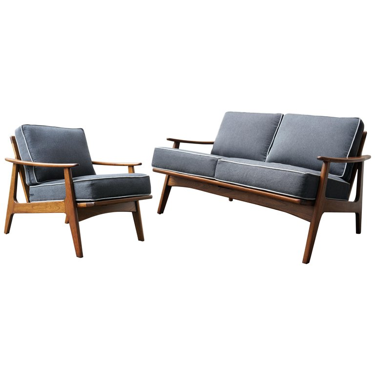 """Mexican Midcentury Sofa and Lounge Chair by """"Malinche"""", 1950s in ..."""